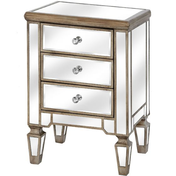 Carlyon Mirrored Bedside Table / Chest - Special Order